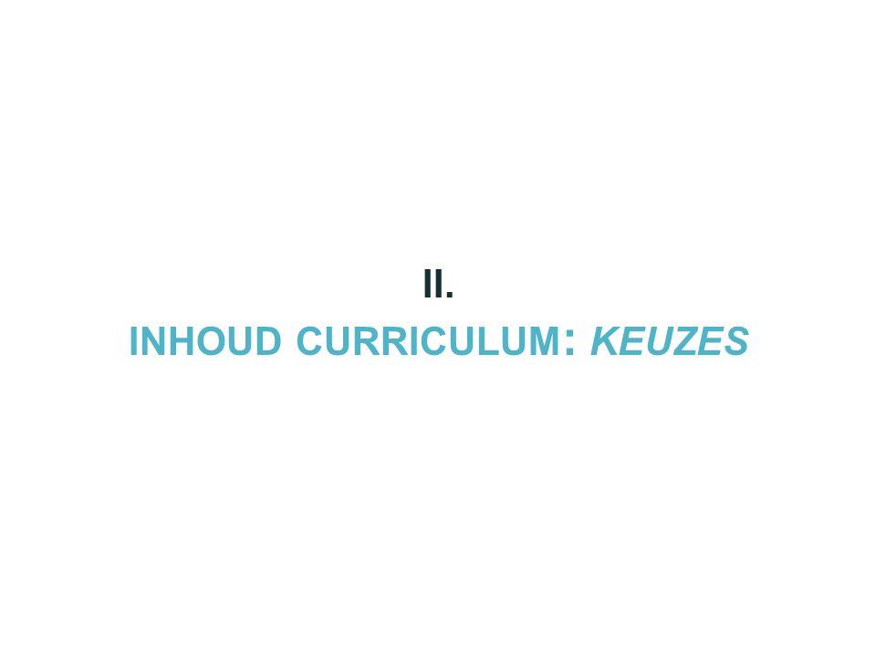 II. INHOUD CURRICULUM : KEUZES