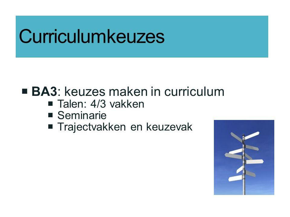 Curriculumkeuzes  BA3: keuzes maken in curriculum  Talen: 4/3 vakken  Seminarie  Trajectvakken en keuzevak