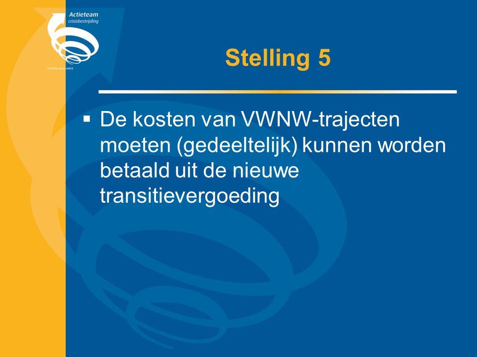 Stelling 5  De kosten van VWNW-trajecten moeten (gedeeltelijk) kunnen worden betaald uit de nieuwe transitievergoeding