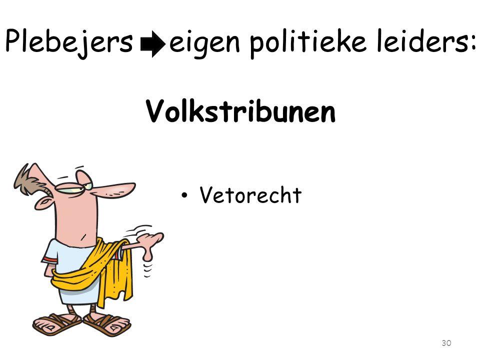 Plebejers eigen politieke leiders: Volkstribunen Vetorecht 30