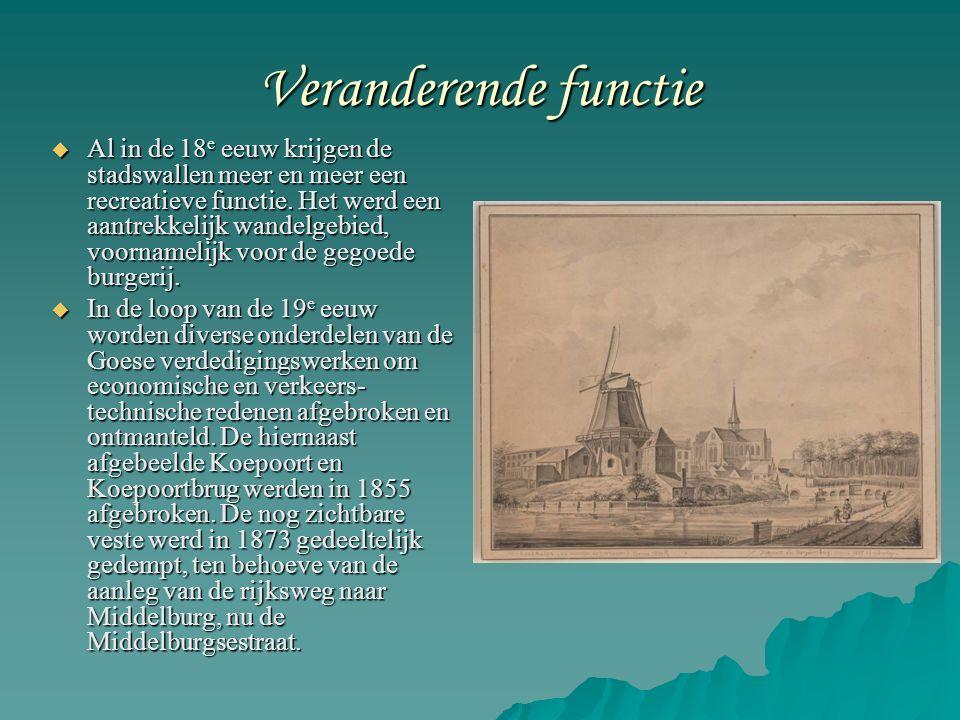 Veranderende functie  Al in de 18 e eeuw krijgen de stadswallen meer en meer een recreatieve functie.