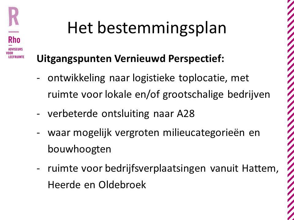 Het bestemmingsplan Uitgangspunten Vernieuwd Perspectief: -ontwikkeling naar logistieke toplocatie, met ruimte voor lokale en/of grootschalige bedrijven -verbeterde ontsluiting naar A28 -waar mogelijk vergroten milieucategorieën en bouwhoogten -ruimte voor bedrijfsverplaatsingen vanuit Hattem, Heerde en Oldebroek