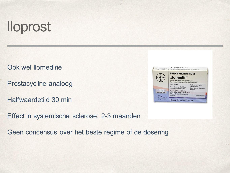 Iloprost Ook wel Ilomedine Prostacycline-analoog Halfwaardetijd 30 min Effect in systemische sclerose: 2-3 maanden Geen concensus over het beste regim