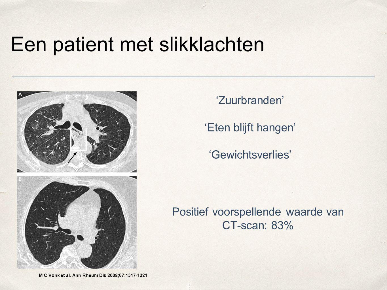 Een patient met slikklachten M C Vonk et al. Ann Rheum Dis 2008;67:1317-1321 'Zuurbranden' 'Eten blijft hangen' 'Gewichtsverlies' Positief voorspellen