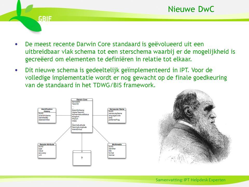 Nieuwe DwC De meest recente Darwin Core standaard is geëvolueerd uit een uitbreidbaar vlak schema tot een sterschema waarbij er de mogelijkheid is gecreëerd om elementen te definiëren in relatie tot elkaar.