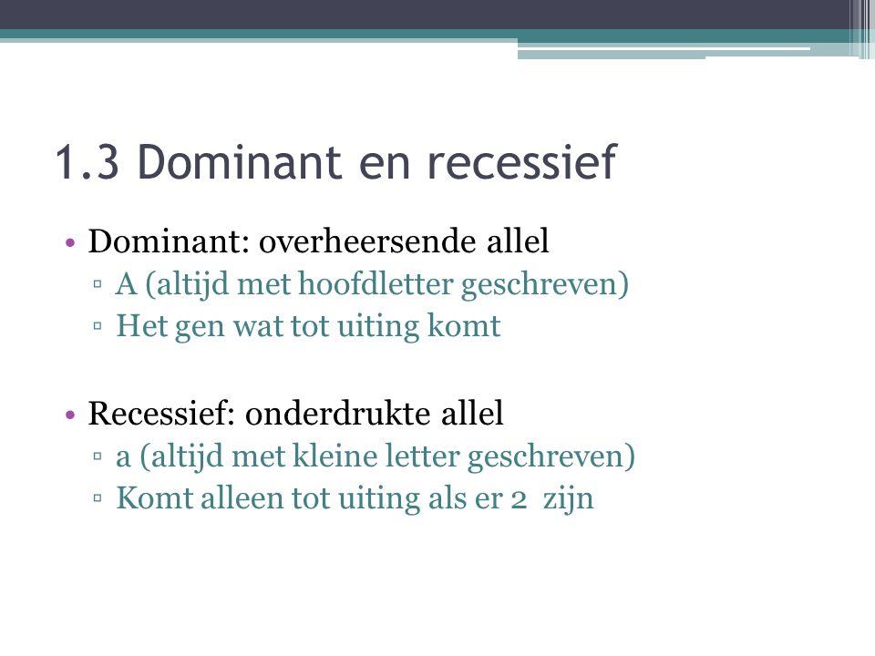 1.3 Dominant en recessief Dominant: overheersende allel ▫A (altijd met hoofdletter geschreven) ▫Het gen wat tot uiting komt Recessief: onderdrukte allel ▫a (altijd met kleine letter geschreven) ▫Komt alleen tot uiting als er 2 zijn