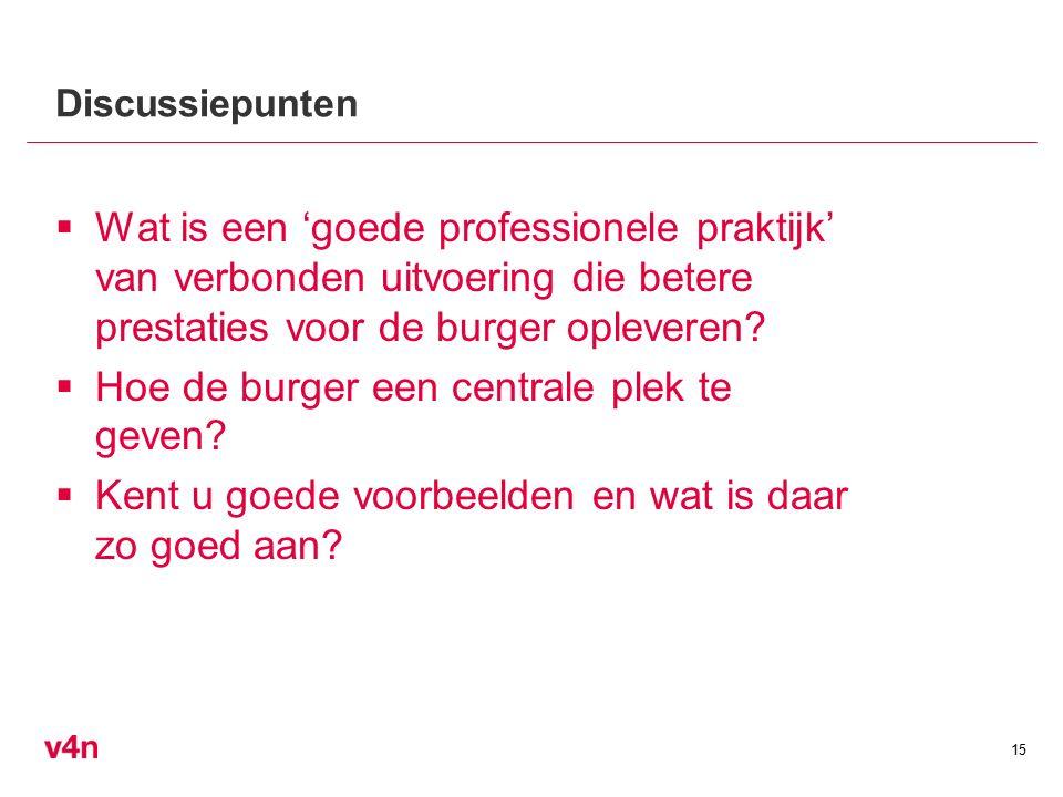 Discussiepunten  Wat is een 'goede professionele praktijk' van verbonden uitvoering die betere prestaties voor de burger opleveren.
