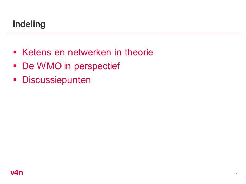  Ketens en netwerken in theorie  De WMO in perspectief  Discussiepunten 2 Indeling