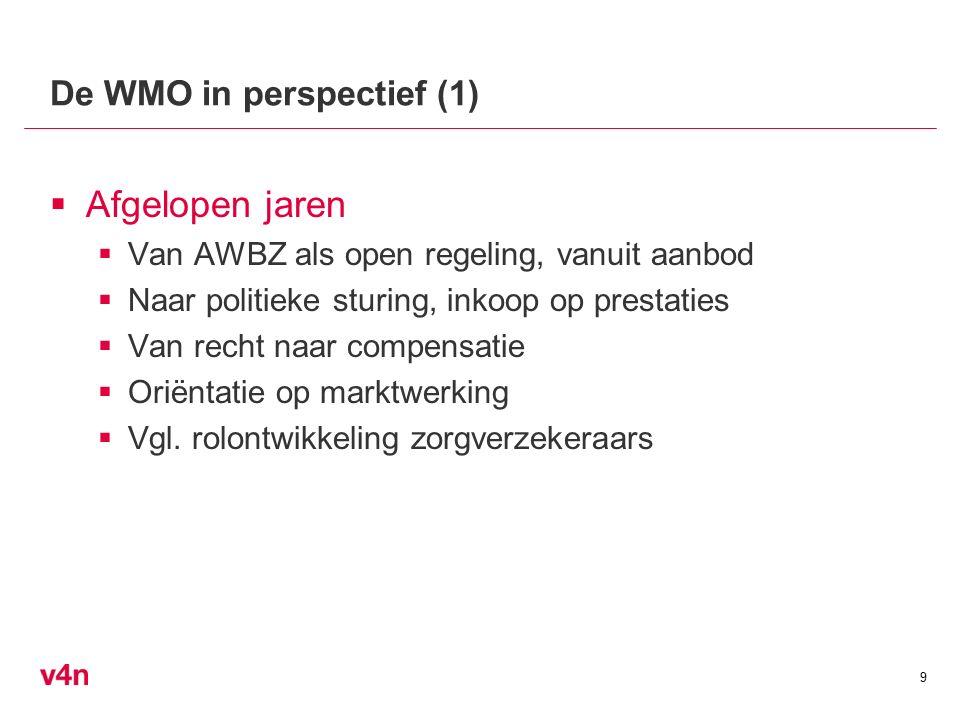 De WMO in perspectief (1)  Afgelopen jaren  Van AWBZ als open regeling, vanuit aanbod  Naar politieke sturing, inkoop op prestaties  Van recht naar compensatie  Oriëntatie op marktwerking  Vgl.