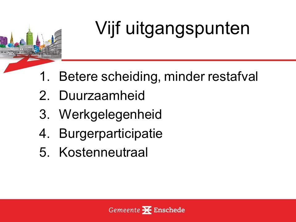 Vijf uitgangspunten 1.Betere scheiding, minder restafval 2.Duurzaamheid 3.Werkgelegenheid 4.Burgerparticipatie 5.Kostenneutraal