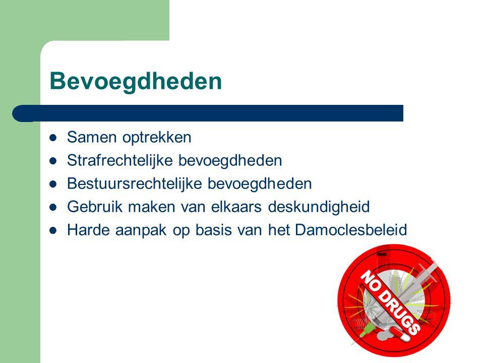 Bevoegdheden Samen optrekken Strafrechtelijke bevoegdheden Bestuursrechtelijke bevoegdheden Gebruik maken van elkaars deskundigheid Harde aanpak op ba