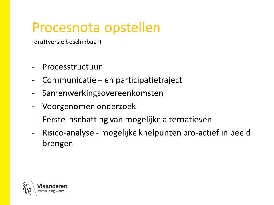 Procesnota opstellen (draftversie beschikbaar) -Processtructuur -Communicatie – en participatietraject -Samenwerkingsovereenkomsten -Voorgenomen onderzoek -Eerste inschatting van mogelijke alternatieven -Risico-analyse - mogelijke knelpunten pro-actief in beeld brengen