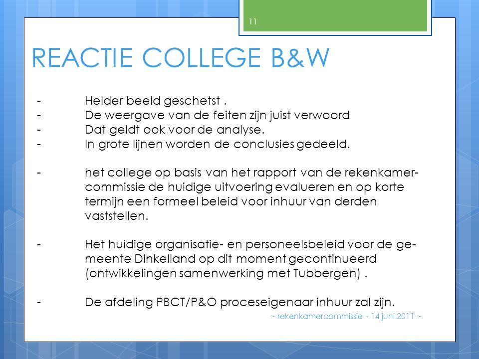 REACTIE COLLEGE B&W ~ rekenkamercommissie - 14 juni 2011 ~ 11 - Helder beeld geschetst. - De weergave van de feiten zijn juist verwoord - Dat geldt oo