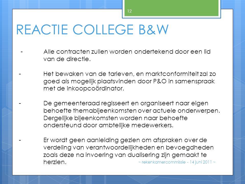 ~ rekenkamercommissie - 14 juni 2011 ~ 12 REACTIE COLLEGE B&W -Alle contracten zullen worden ondertekend door een lid van de directie. - Het bewaken v