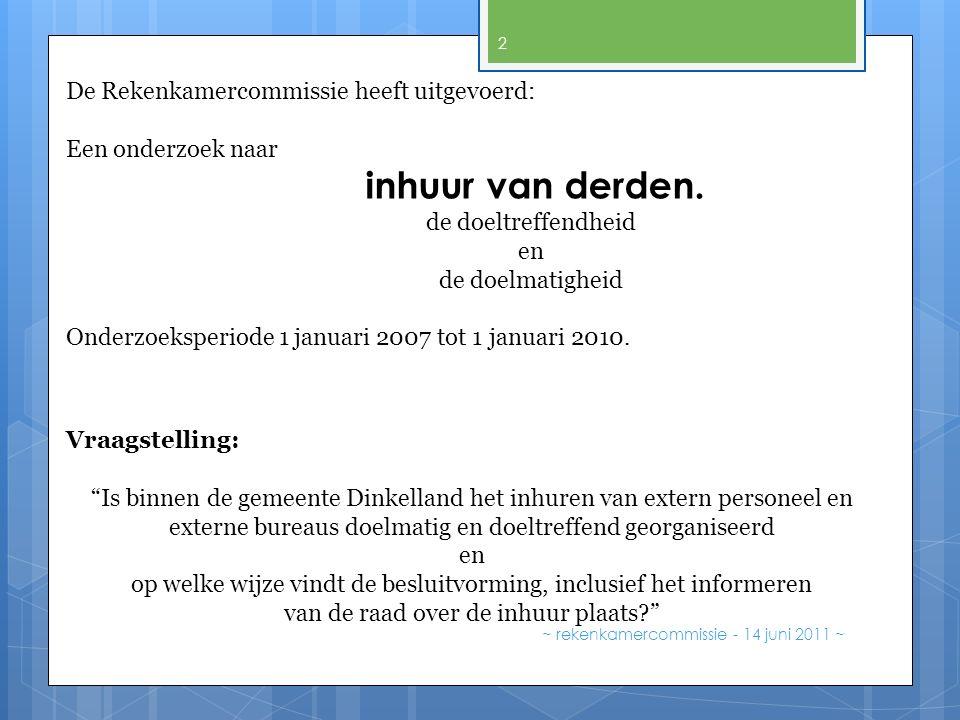 De Rekenkamercommissie heeft uitgevoerd: Een onderzoek naar inhuur van derden. de doeltreffendheid en de doelmatigheid Onderzoeksperiode 1 januari 200