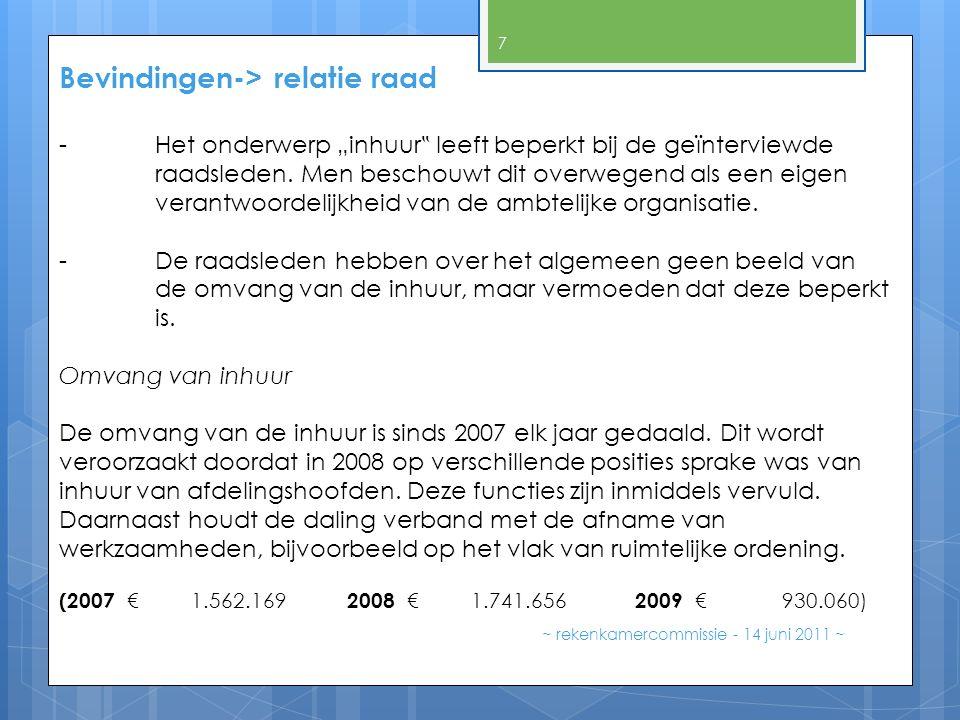 """Bevindingen-> relatie raad ~ rekenkamercommissie - 14 juni 2011 ~ 7 -Het onderwerp """"inhuur """" leeft beperkt bij de geïnterviewde raadsleden. Men bescho"""
