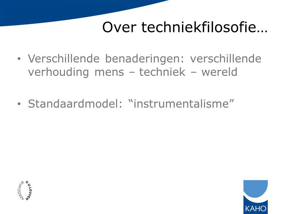 Over techniekfilosofie… Verschillende benaderingen: verschillende verhouding mens – techniek – wereld Standaardmodel: instrumentalisme