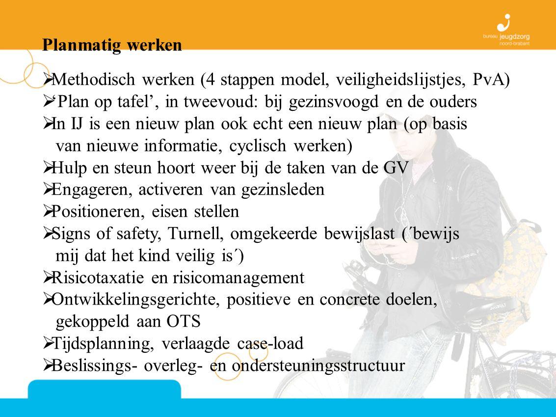 Planmatig werken  Methodisch werken (4 stappen model, veiligheidslijstjes, PvA)  'Plan op tafel', in tweevoud: bij gezinsvoogd en de ouders  In IJ is een nieuw plan ook echt een nieuw plan (op basis van nieuwe informatie, cyclisch werken)  Hulp en steun hoort weer bij de taken van de GV  Engageren, activeren van gezinsleden  Positioneren, eisen stellen  Signs of safety, Turnell, omgekeerde bewijslast (´bewijs mij dat het kind veilig is´)  Risicotaxatie en risicomanagement  Ontwikkelingsgerichte, positieve en concrete doelen, gekoppeld aan OTS  Tijdsplanning, verlaagde case-load  Beslissings- overleg- en ondersteuningsstructuur