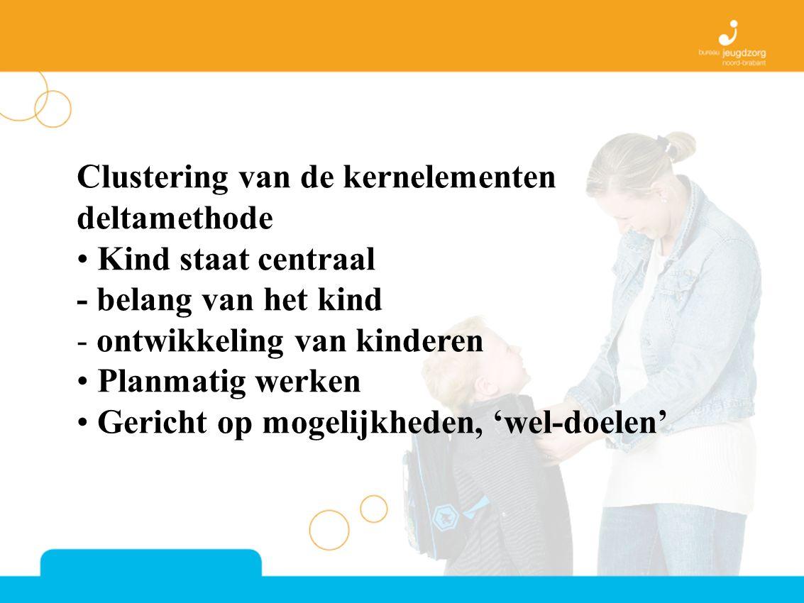 Clustering van de kernelementen deltamethode Kind staat centraal - belang van het kind - ontwikkeling van kinderen Planmatig werken Gericht op mogelijkheden, 'wel-doelen'