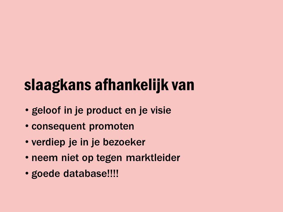 slaagkans afhankelijk van geloof in je product en je visie consequent promoten verdiep je in je bezoeker neem niet op tegen marktleider goede database!!!!