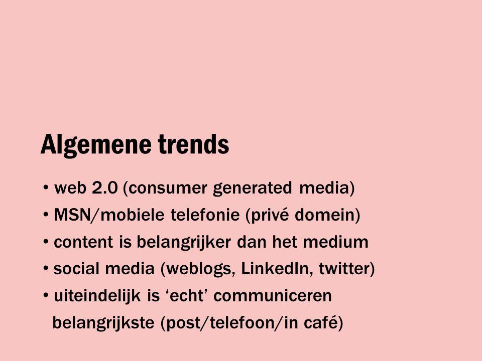 Algemene trends authenticiteit kennis is cool mediawise belang van peergroeps/sociale netwerken én guerrilla marketing!