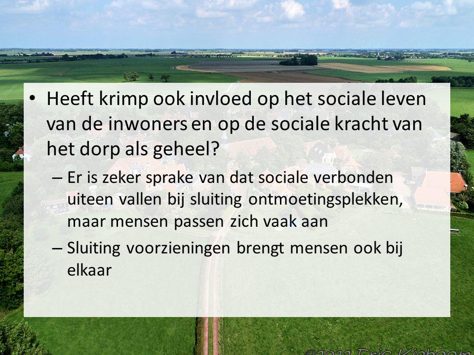 Heeft krimp ook invloed op het sociale leven van de inwoners en op de sociale kracht van het dorp als geheel.