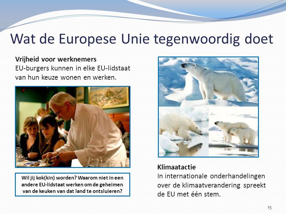 15 Klimaatactie In internationale onderhandelingen over de klimaatverandering spreekt de EU met één stem.
