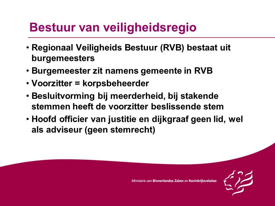 Bestuur van veiligheidsregio Regionaal Veiligheids Bestuur (RVB) bestaat uit burgemeesters Burgemeester zit namens gemeente in RVB Voorzitter = korpsb