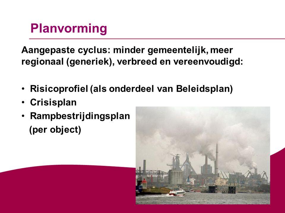 Planvorming Aangepaste cyclus: minder gemeentelijk, meer regionaal (generiek), verbreed en vereenvoudigd: Risicoprofiel (als onderdeel van Beleidsplan) Crisisplan Rampbestrijdingsplan (per object)