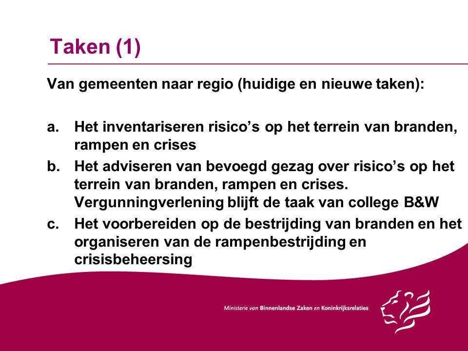 Taken (1) Van gemeenten naar regio (huidige en nieuwe taken): a.Het inventariseren risico's op het terrein van branden, rampen en crises b.Het adviser