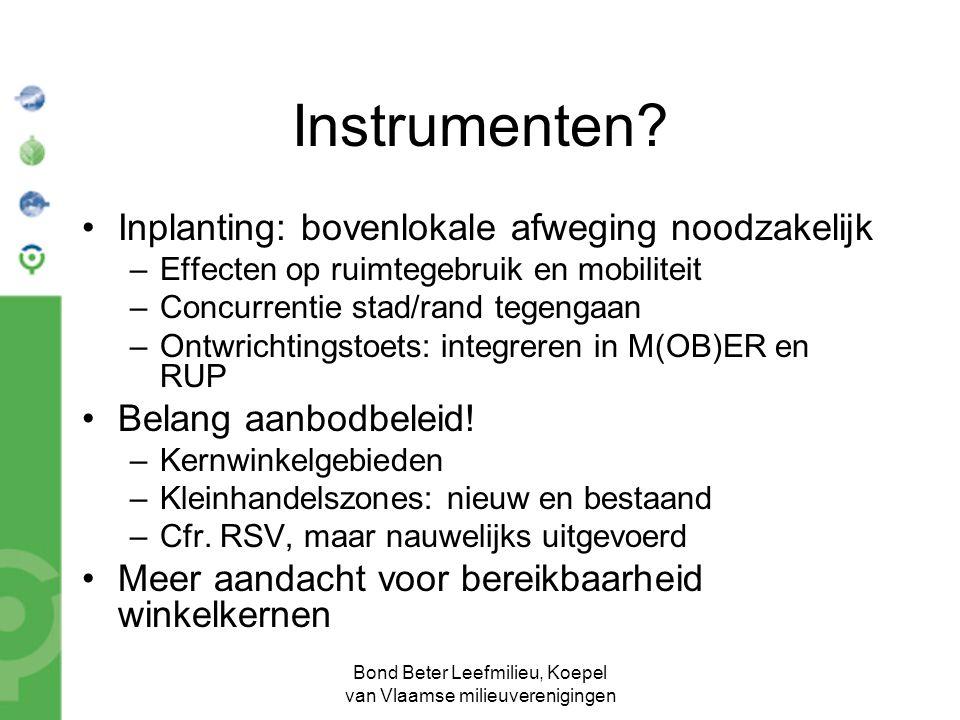Bond Beter Leefmilieu, Koepel van Vlaamse milieuverenigingen Instrumenten.