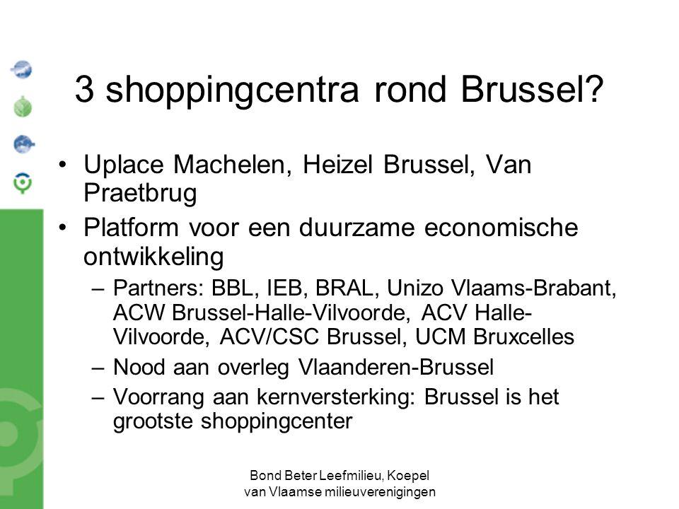 Bond Beter Leefmilieu, Koepel van Vlaamse milieuverenigingen 3 shoppingcentra rond Brussel.