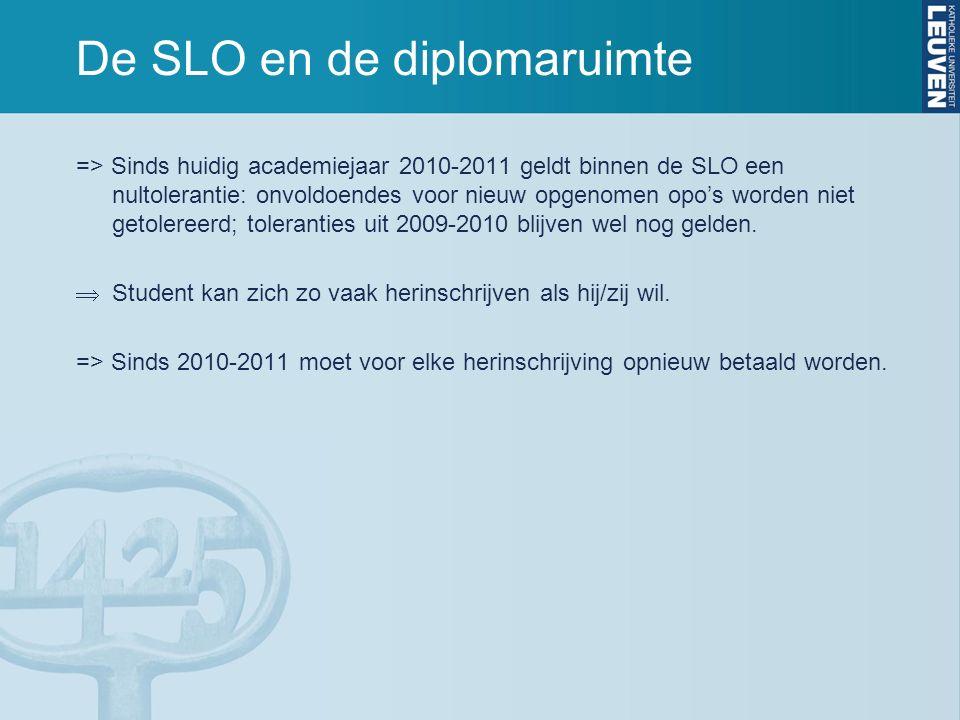De SLO en de diplomaruimte => Sinds huidig academiejaar 2010-2011 geldt binnen de SLO een nultolerantie: onvoldoendes voor nieuw opgenomen opo's worden niet getolereerd; toleranties uit 2009-2010 blijven wel nog gelden.