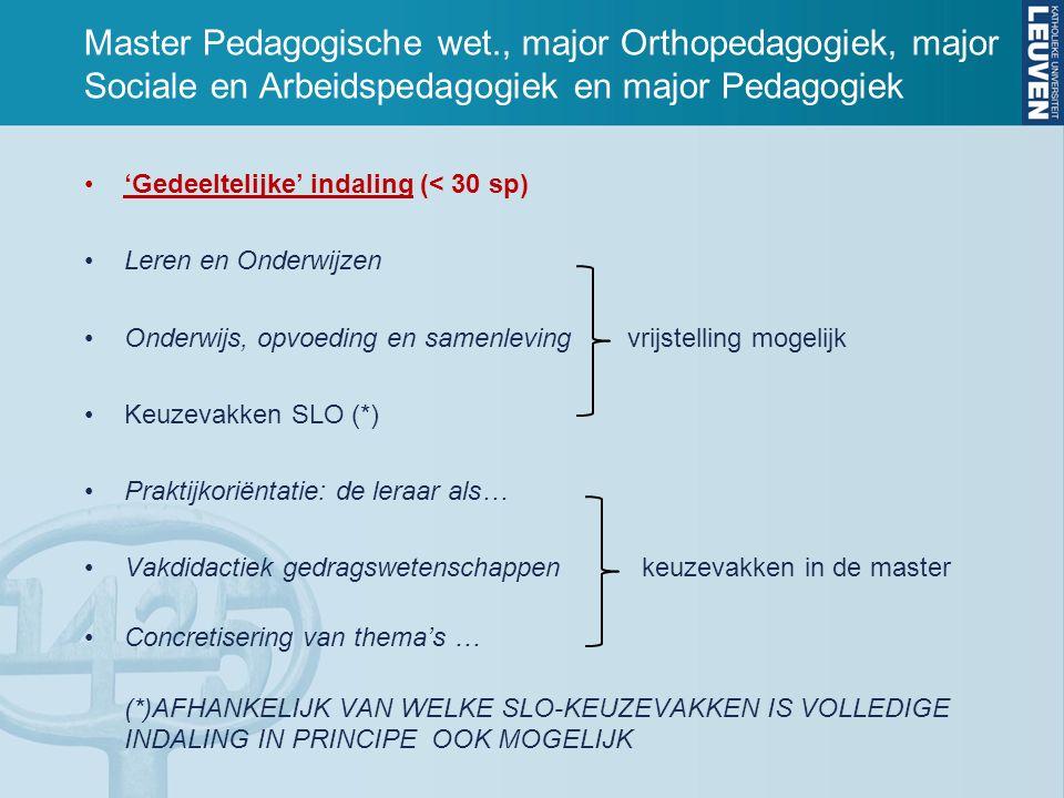 Master Pedagogische wet., major Orthopedagogiek, major Sociale en Arbeidspedagogiek en major Pedagogiek 'Gedeeltelijke' indaling (< 30 sp) Leren en Onderwijzen Onderwijs, opvoeding en samenlevingvrijstelling mogelijk Keuzevakken SLO (*) Praktijkoriëntatie: de leraar als… Vakdidactiek gedragswetenschappen keuzevakken in de master Concretisering van thema's … (*)AFHANKELIJK VAN WELKE SLO-KEUZEVAKKEN IS VOLLEDIGE INDALING IN PRINCIPE OOK MOGELIJK