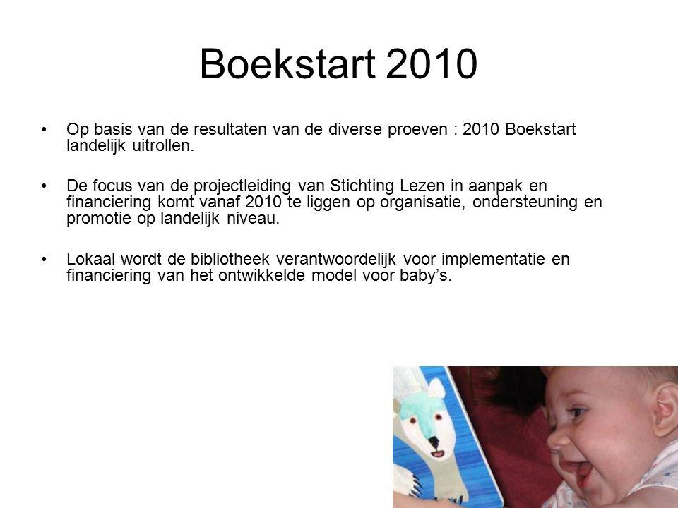 Boekstart 2010 Op basis van de resultaten van de diverse proeven : 2010 Boekstart landelijk uitrollen.