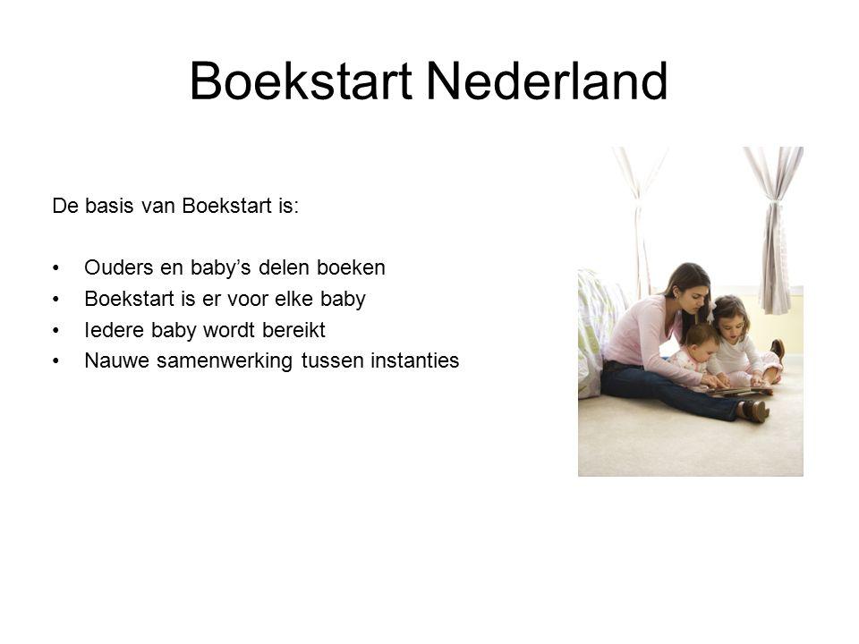 Boekstart Nederland De basis van Boekstart is: Ouders en baby's delen boeken Boekstart is er voor elke baby Iedere baby wordt bereikt Nauwe samenwerking tussen instanties