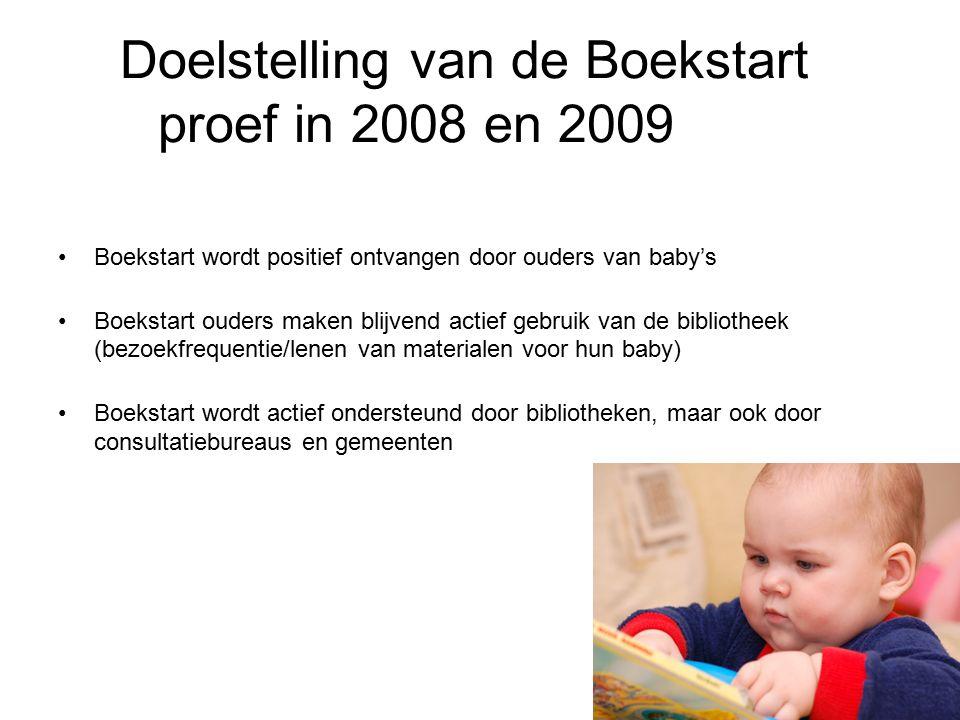 Doelstelling van de Boekstart proef in 2008 en 2009 Boekstart wordt positief ontvangen door ouders van baby's Boekstart ouders maken blijvend actief gebruik van de bibliotheek (bezoekfrequentie/lenen van materialen voor hun baby) Boekstart wordt actief ondersteund door bibliotheken, maar ook door consultatiebureaus en gemeenten