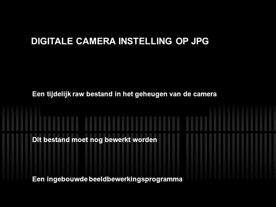 LENS DIGITALE CAMERA INSTELLING OP JPG Dit bestand moet nog bewerkt worden Een tijdelijk raw bestand in het geheugen van de camera Een ingebouwde beel