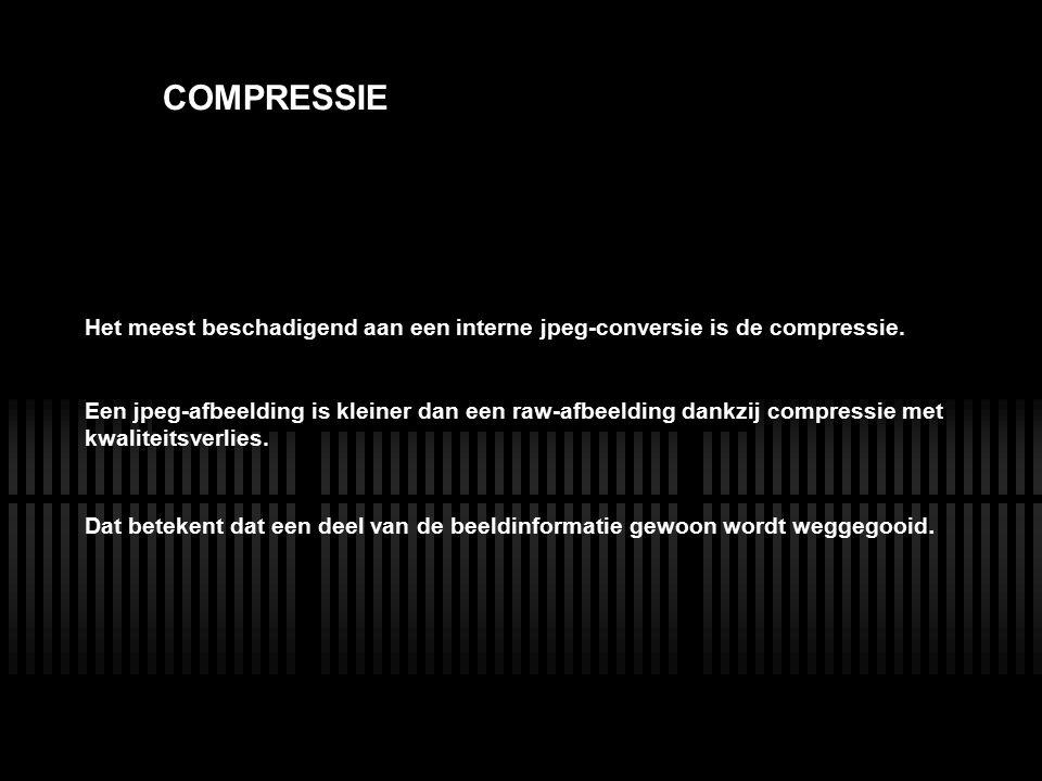 LENS COMPRESSIE Het meest beschadigend aan een interne jpeg-conversie is de compressie. Een jpeg-afbeelding is kleiner dan een raw-afbeelding dankzij