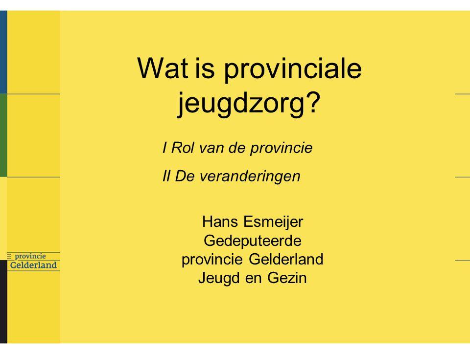 Jeugdzorg Gelderland; inkomsten en uitgaven Inkomsten doeluitkering rijk: 153,4 provinciale middelen: 5,7 totaal: 159,1 Uitgaven bureau jeugdzorg: justitietaken 25,8 niet-justitietaken 20,6 zorgaanbod: 109,6 cliëntenbeleid (prov.
