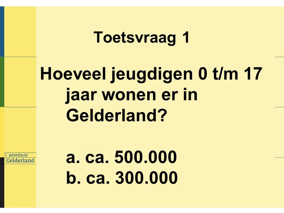 Toetsvraag 1 Hoeveel jeugdigen 0 t/m 17 jaar wonen er in Gelderland? a. ca. 500.000 b. ca. 300.000