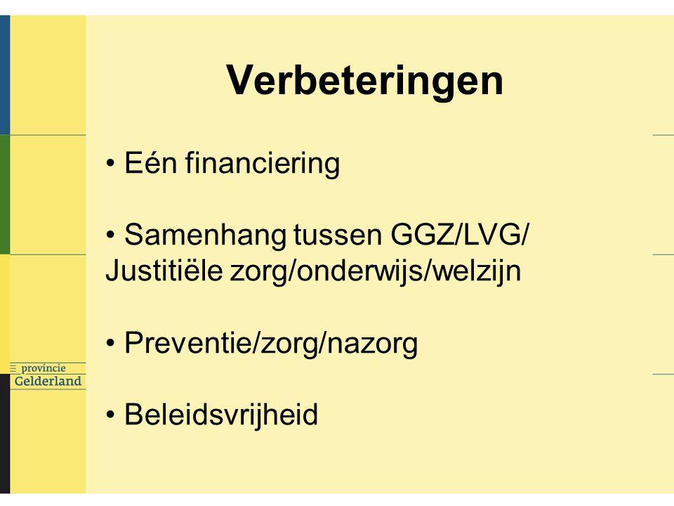 Verbeteringen Eén financiering Samenhang tussen GGZ/LVG/ Justitiële zorg/onderwijs/welzijn Preventie/zorg/nazorg Beleidsvrijheid