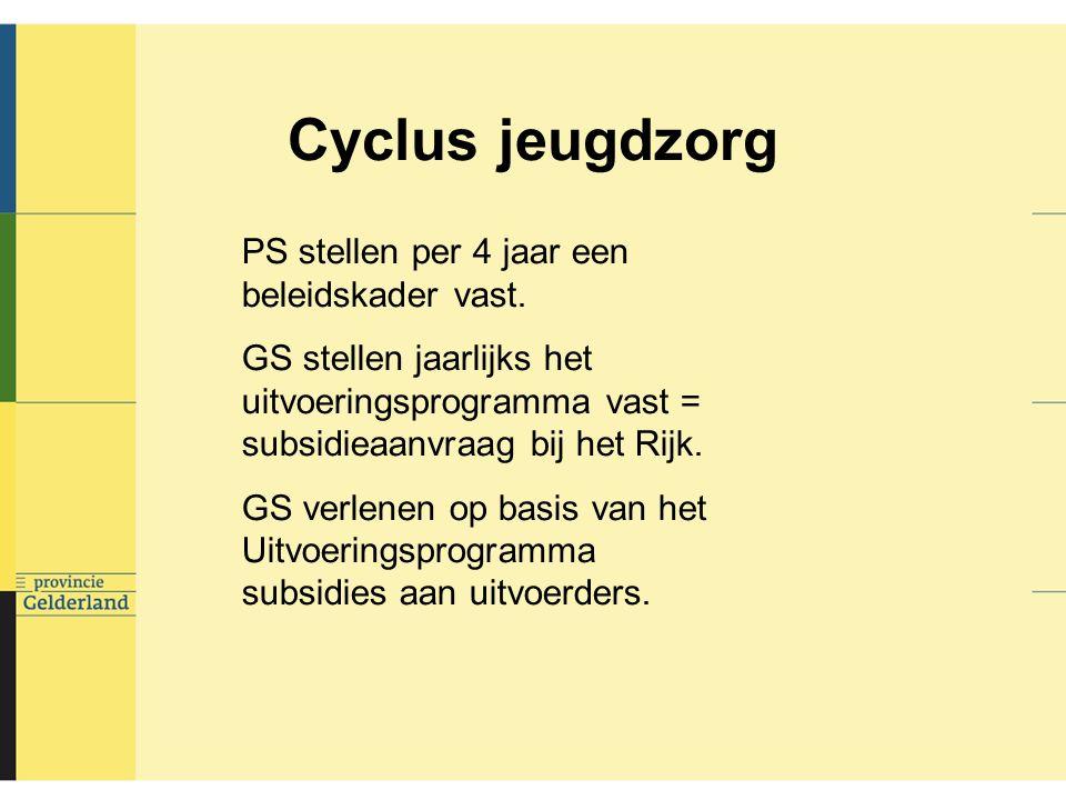 Cyclus jeugdzorg PS stellen per 4 jaar een beleidskader vast.