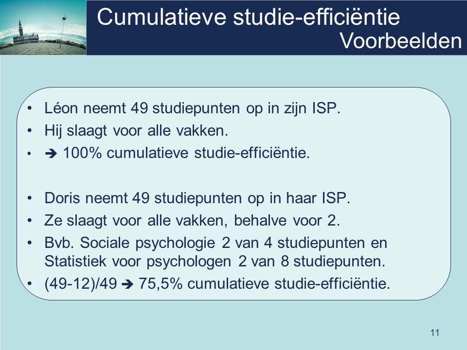 11 Cumulatieve studie-efficiëntie Léon neemt 49 studiepunten op in zijn ISP.