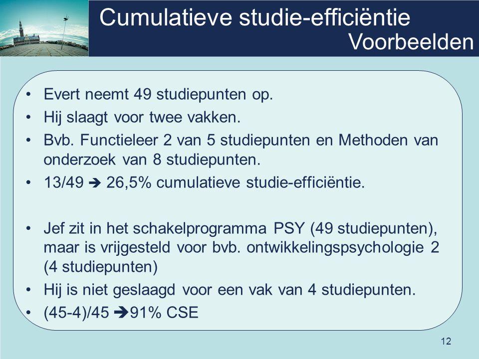 12 Cumulatieve studie-efficiëntie Evert neemt 49 studiepunten op.