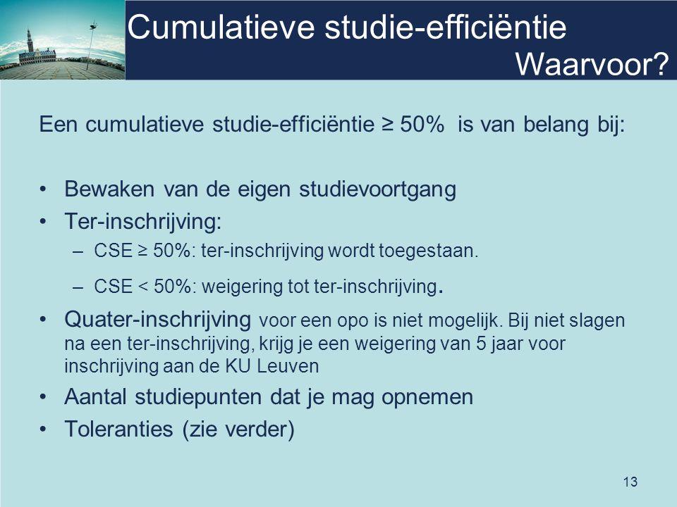 13 Cumulatieve studie-efficiëntie Een cumulatieve studie-efficiëntie ≥ 50% is van belang bij: Bewaken van de eigen studievoortgang Ter-inschrijving: –CSE ≥ 50%: ter-inschrijving wordt toegestaan.
