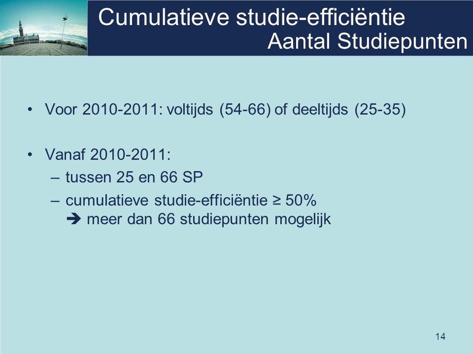 14 Cumulatieve studie-efficiëntie Voor 2010-2011: voltijds (54-66) of deeltijds (25-35) Vanaf 2010-2011: –tussen 25 en 66 SP –cumulatieve studie-efficiëntie ≥ 50%  meer dan 66 studiepunten mogelijk Aantal Studiepunten