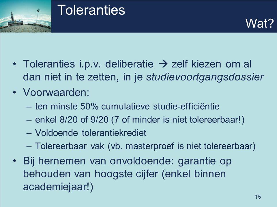 15 Toleranties Toleranties i.p.v.