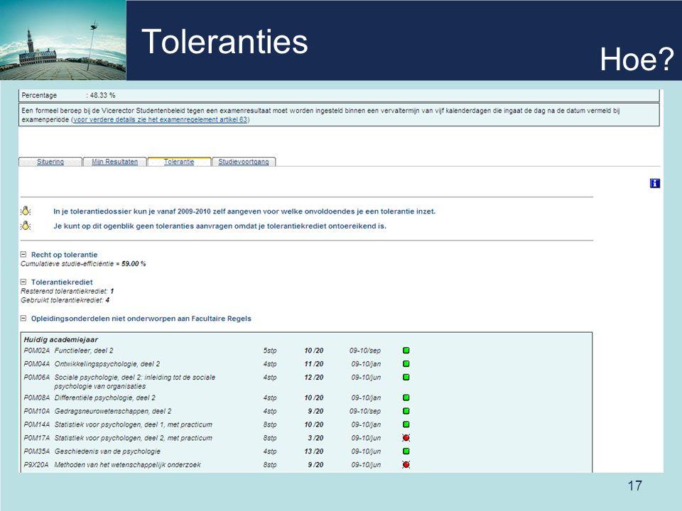 17 Toleranties Hoe?