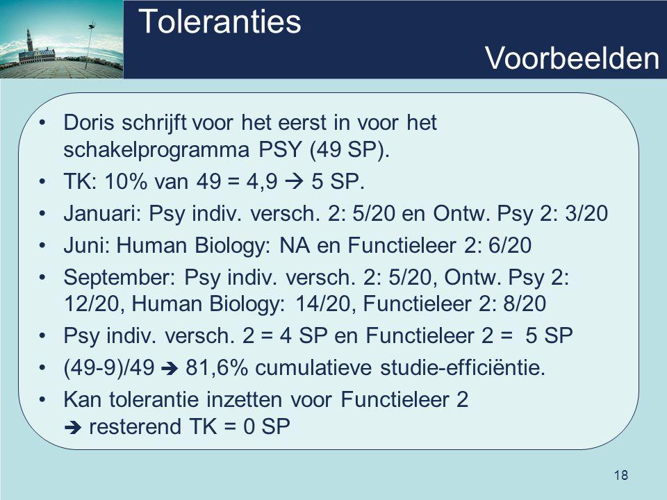 18 Toleranties Doris schrijft voor het eerst in voor het schakelprogramma PSY (49 SP).